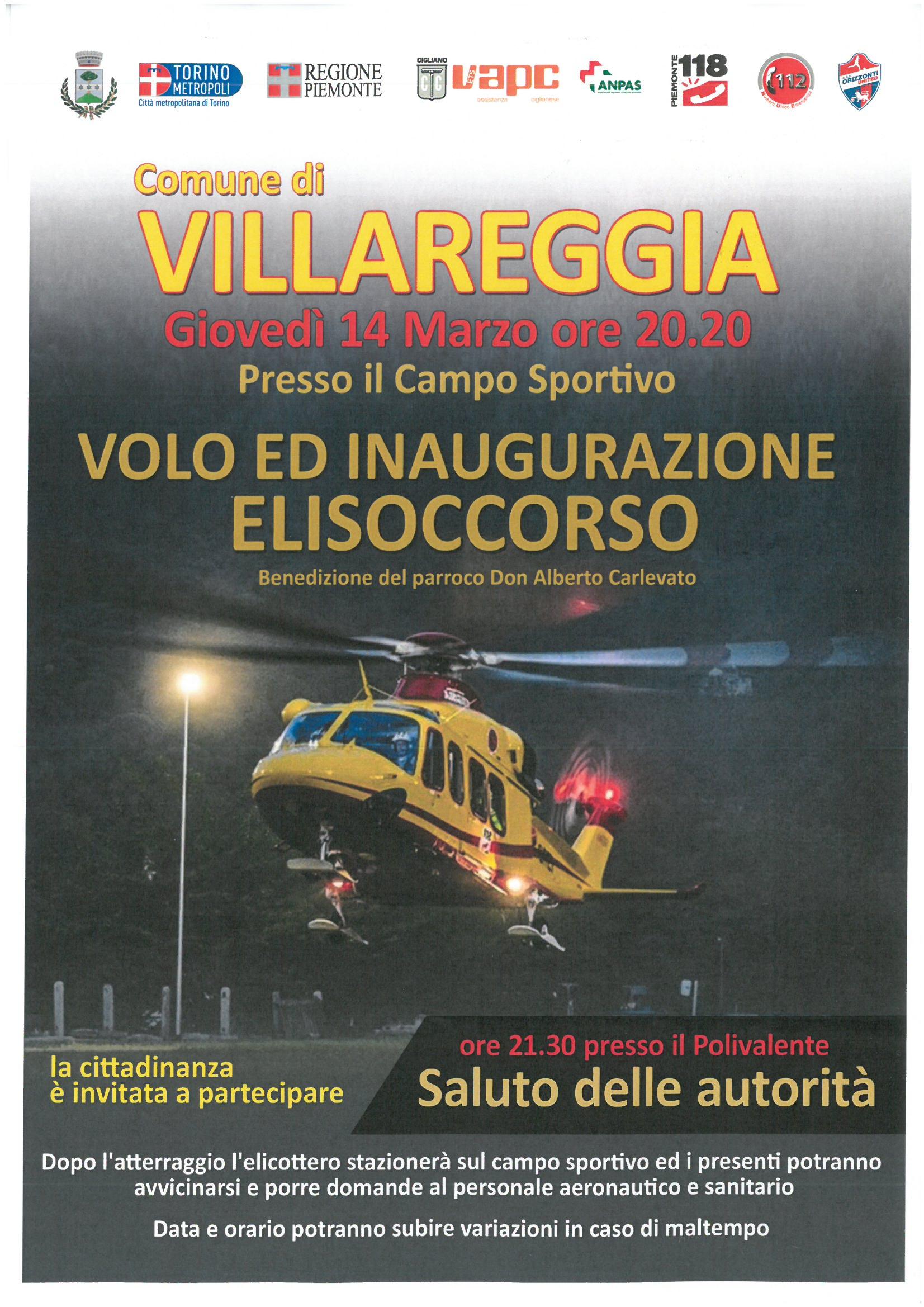 Inaugurazione volo notturno elisoccorso Piemonte 118