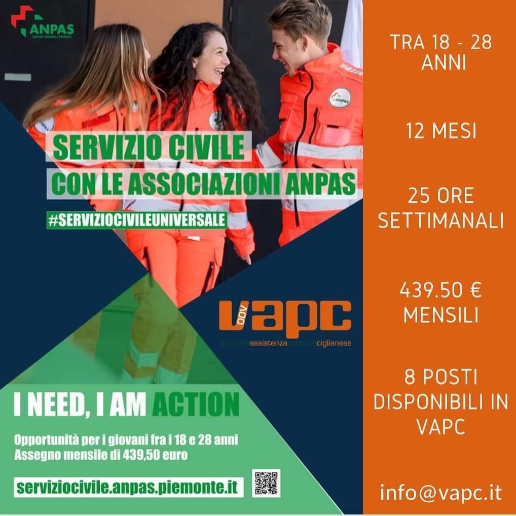 Servizio Civile Universale 8 posti disponibili in VAPC ODV Cilgiano (VC) - Villareggia (TO)