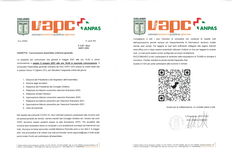 Convocazione Assemblea Generale Soci Volontari VAPC ODV del 08 maggio 2021